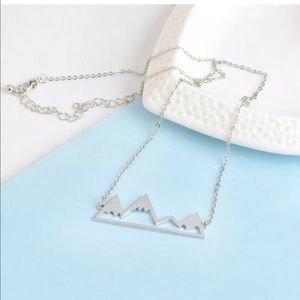 Silver snow capped mountains necklace with chain